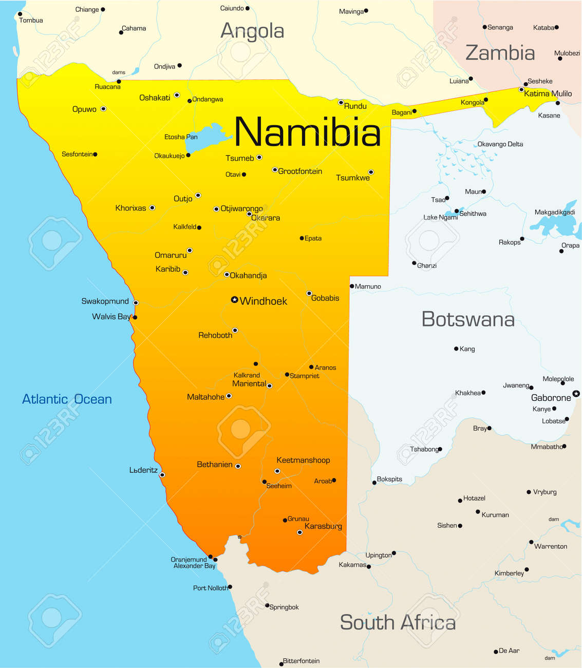 Abstract Vector Color Royalty Map Cliparts Image And Vectors Of Country Namibia Free 3529196 Illustration Stock