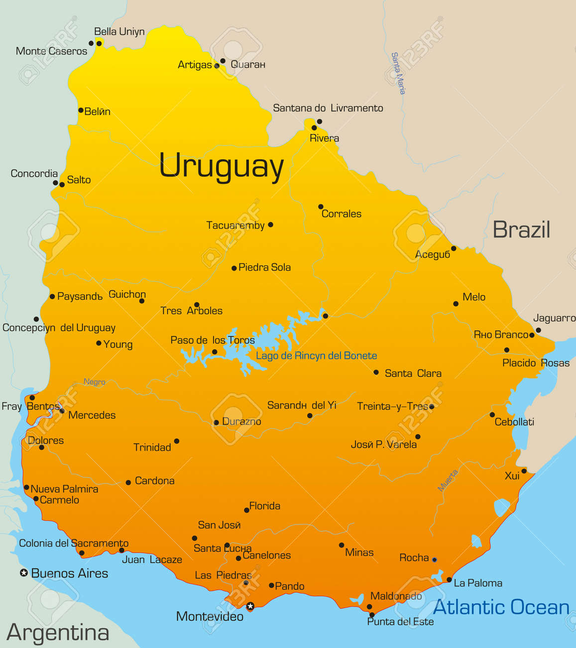Abstract Vector Color Map Of Uruguay Country Royalty Free Cliparts - Map of uruguay