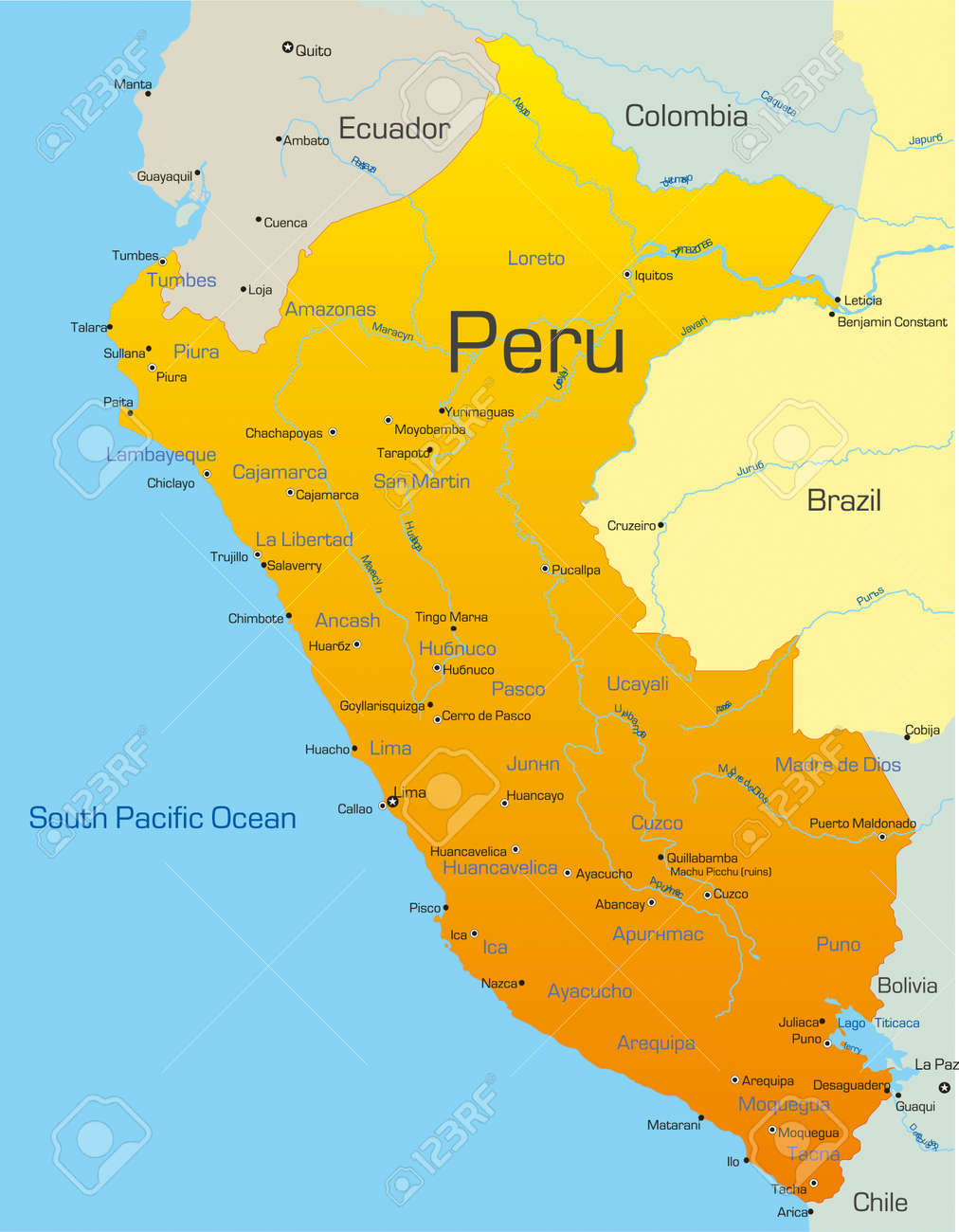 Abstract Vector Color Map Of Peru Country Royalty Free Cliparts - Peru map lima