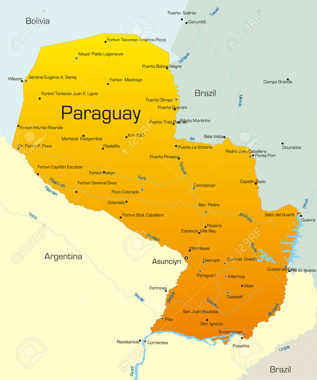 Abstract Vector Color Map Of Paraguay Country Royalty Free - Map of paraguay