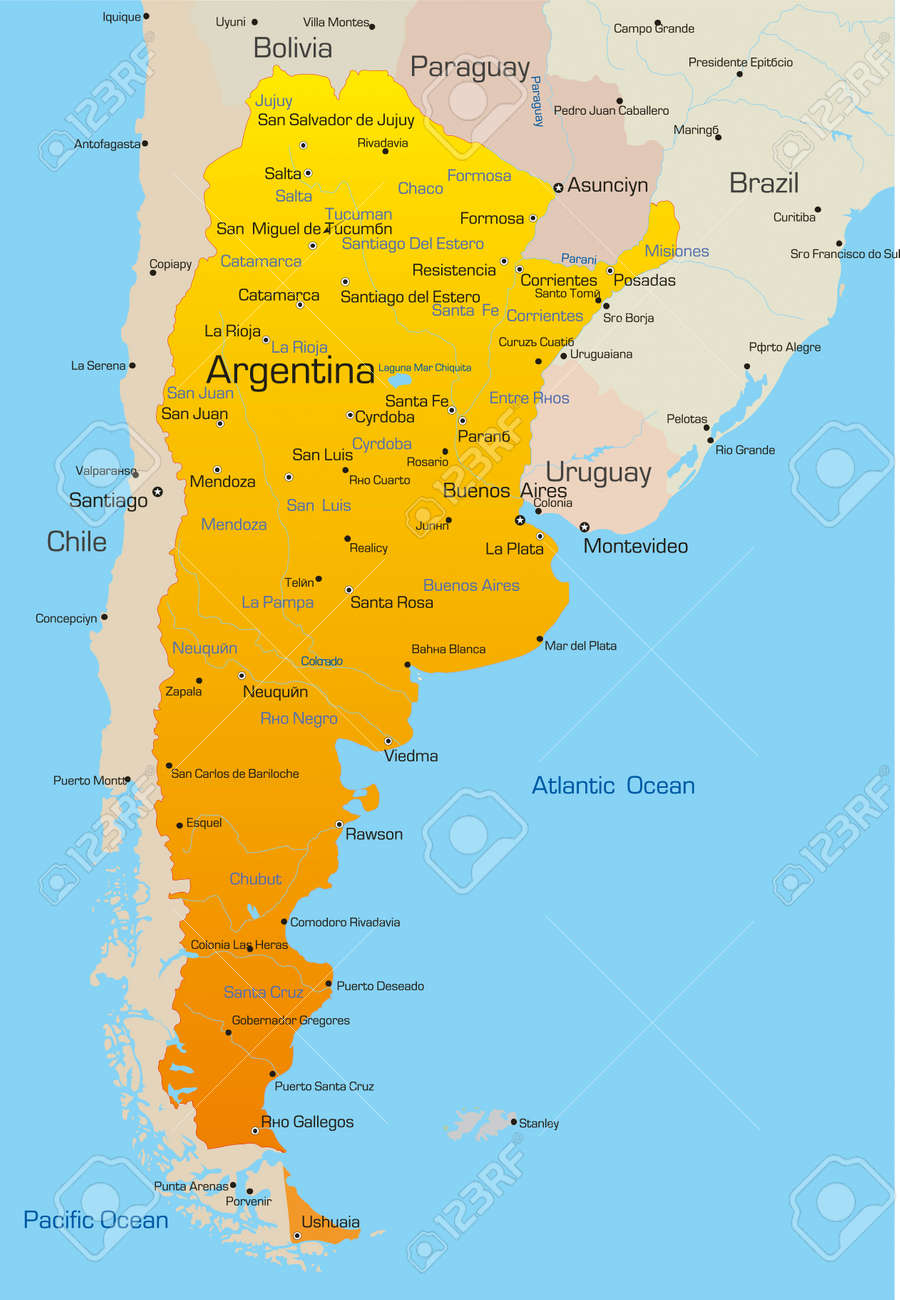Abstract Vector Color Map Of Argentina Country Royalty Free - Argentina map of country