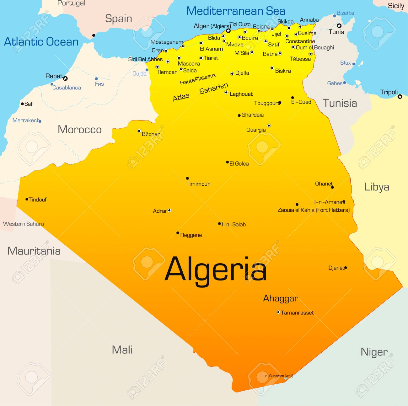 Abstract Vector Color Map Of Algeria Country Royalty Free Cliparts - Algeria map