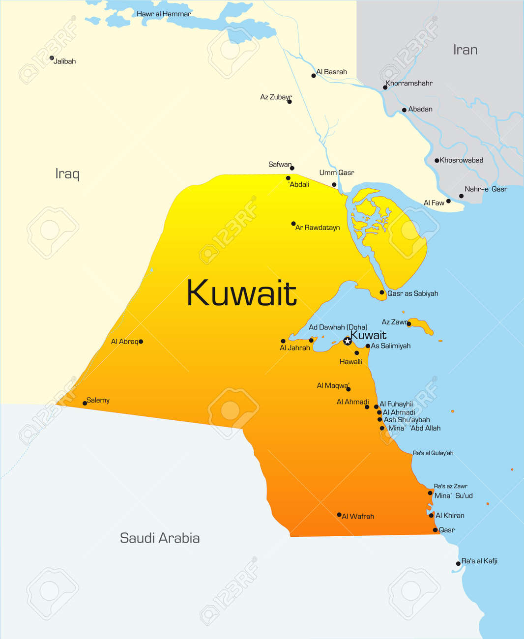 Abstract Vector Color Map Of Kuwait Country Stock Photo Picture And