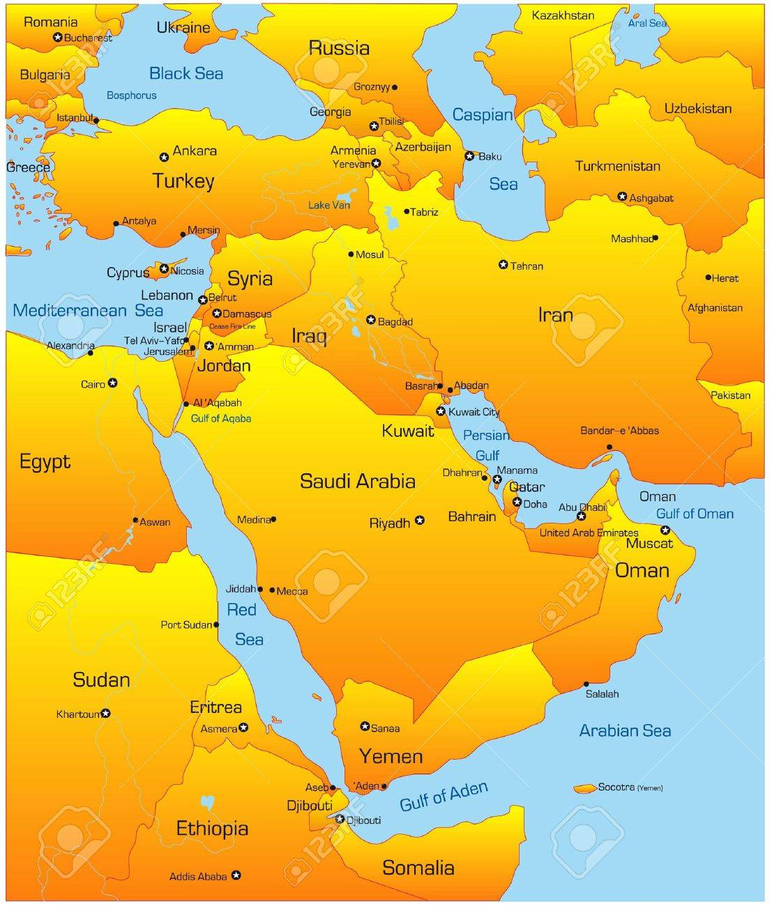Abstract Vector Color Map Of Middle East Country Stock Photo