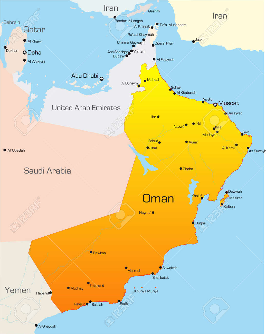 Abstract vector color map of Oman country