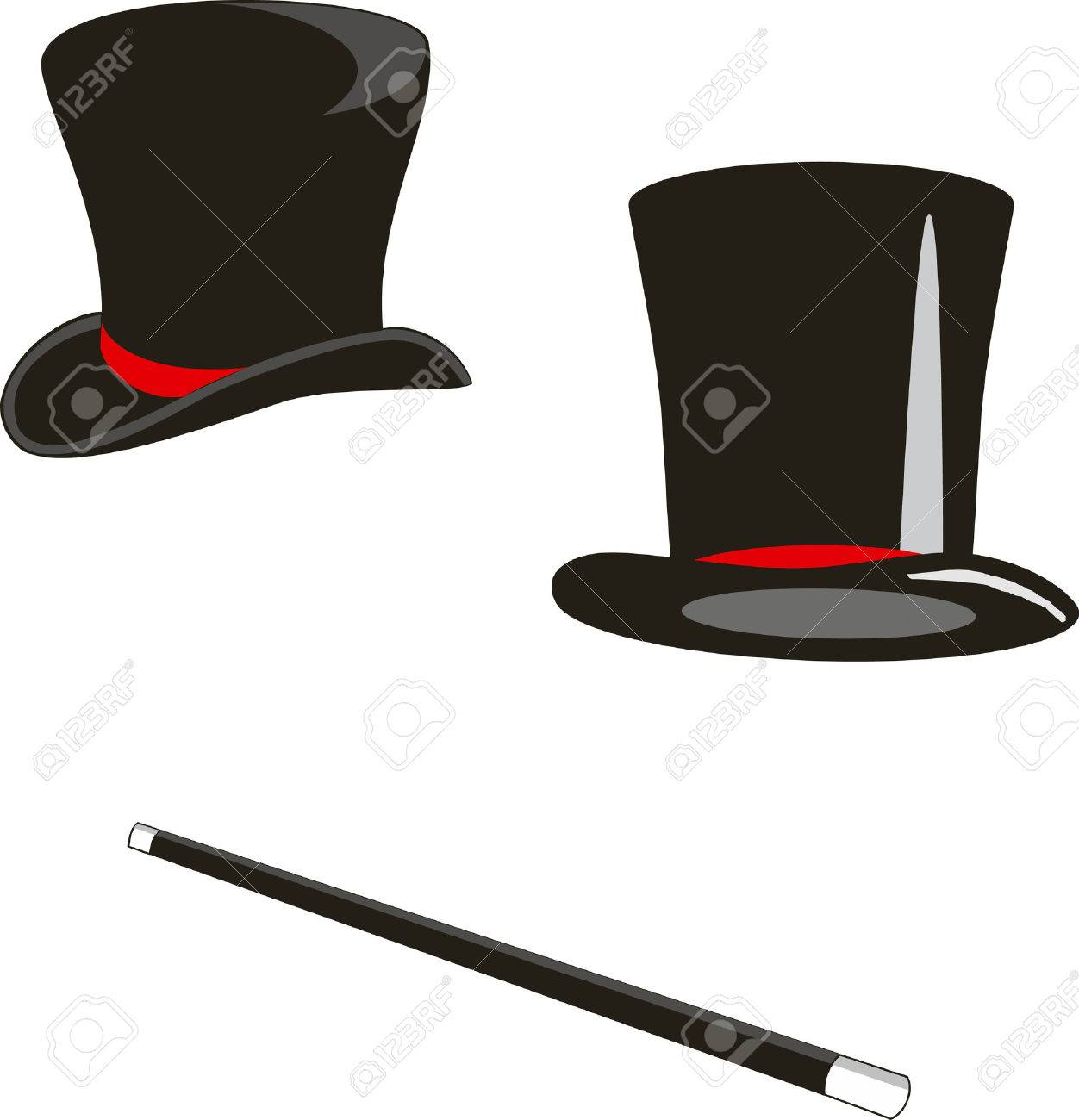 Vector illustration: magic hats and cane Stock Vector - 3578100