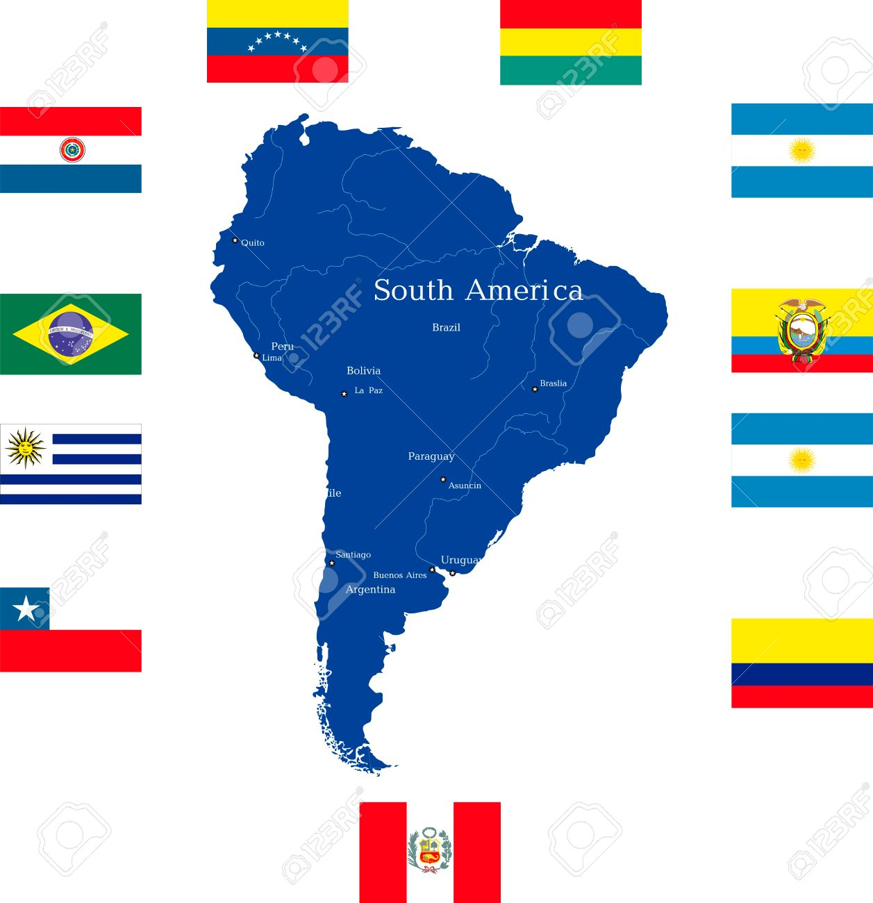 Abstract Map Of South America Continent With Countries Flags - South america map and flags
