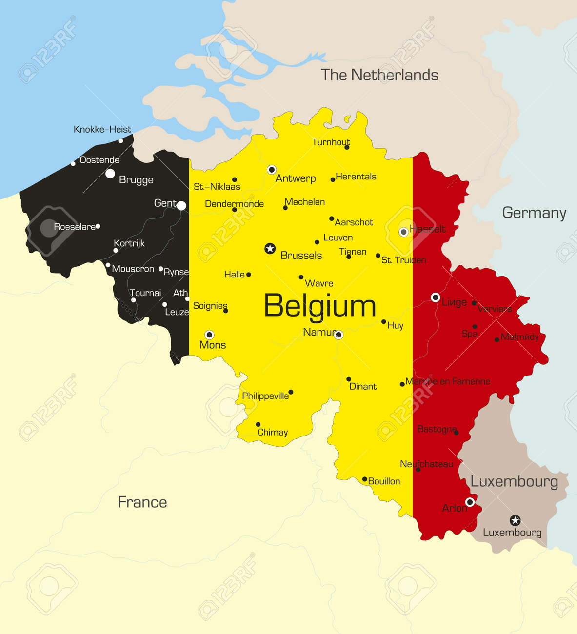 Abstract vector color map of belgium country coloured by national abstract vector color map of belgium country coloured by national flag stock vector 3686734 gumiabroncs Images