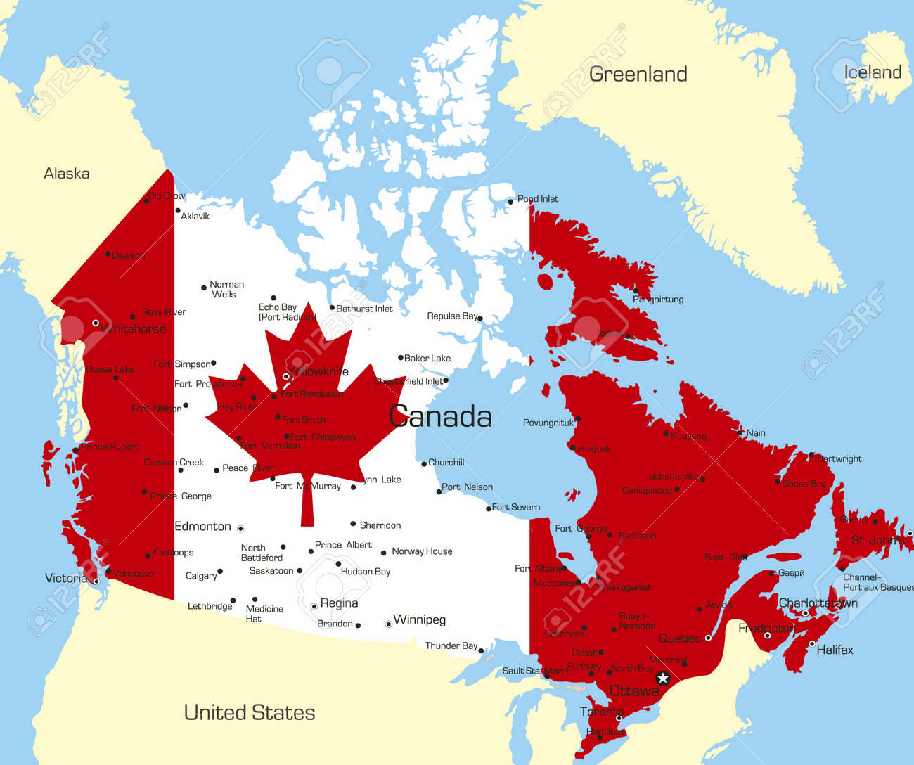 Abstract Vector Color Map Of Canada Country Coloured By National - Canada mapa
