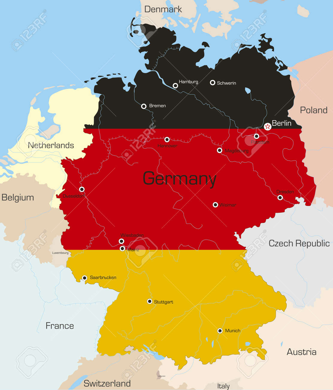 Country Of Germany Map.Abstract Vector Color Map Of Germany Country Coloured By National