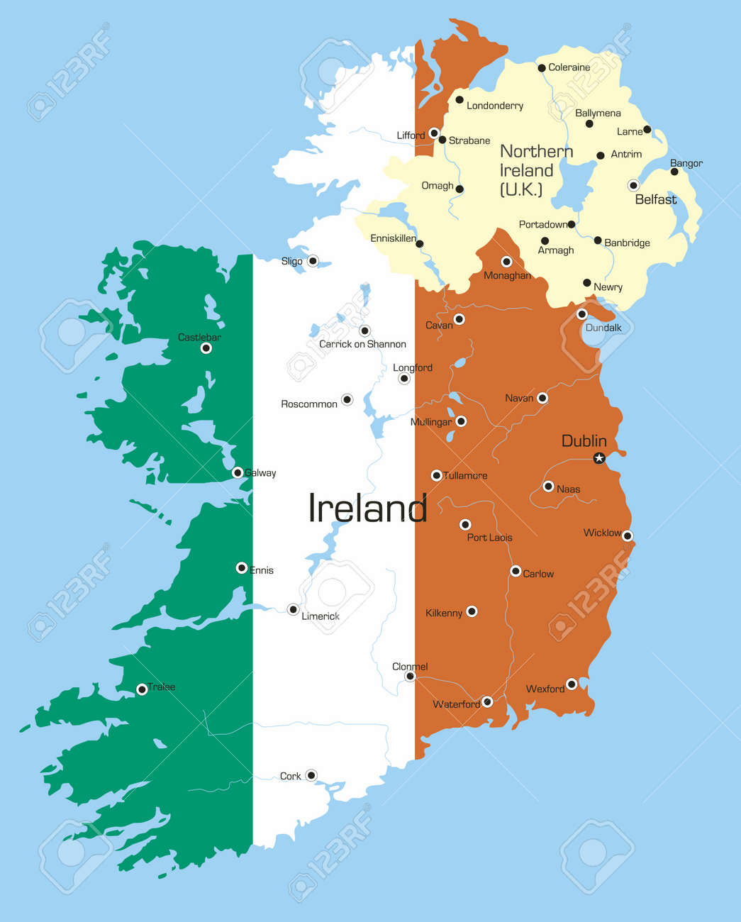 Country Of Ireland Map.Abstract Vector Color Map Of Ireland Country Coloured By National