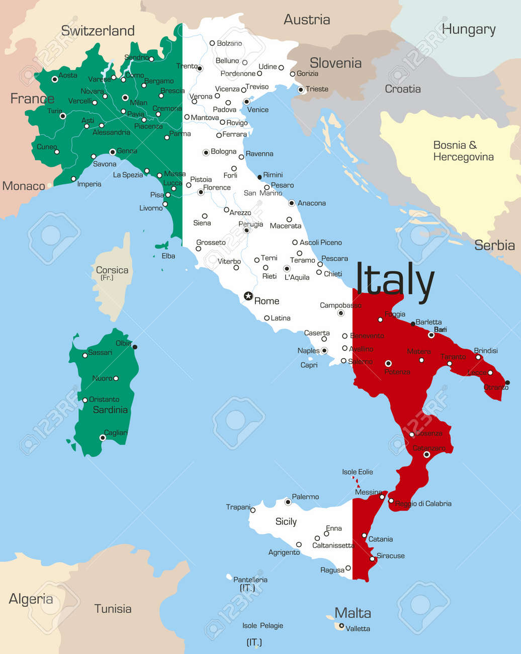 Abstract vector color map of italy country coloured by national abstract vector color map of italy country coloured by national flag stock vector 3686775 gumiabroncs Images