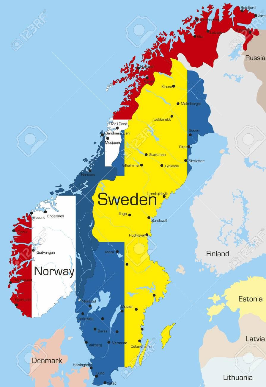 Karte Norwegen Schweden.Stock Photo