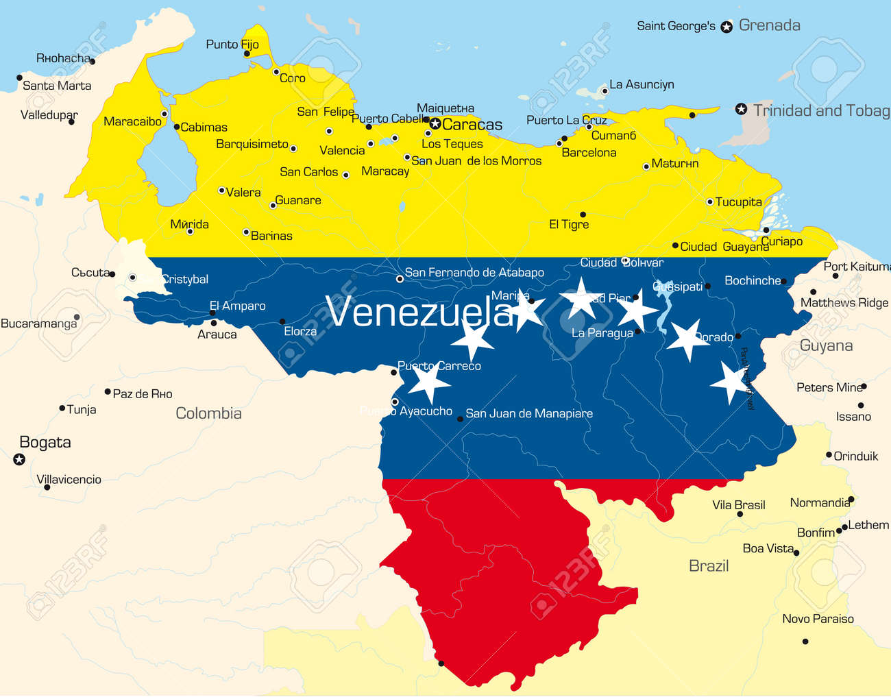 Abstract Vector Color Map Of Venezuela Country Colored By National - Map of venezuela south america