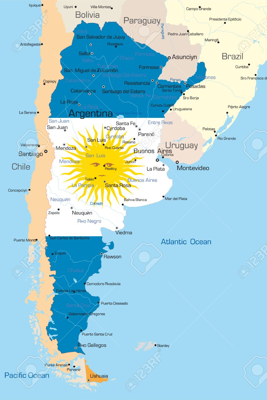 Resumen De Vectores De Color Mapa De La Argentina Por País De - Argentina mapa