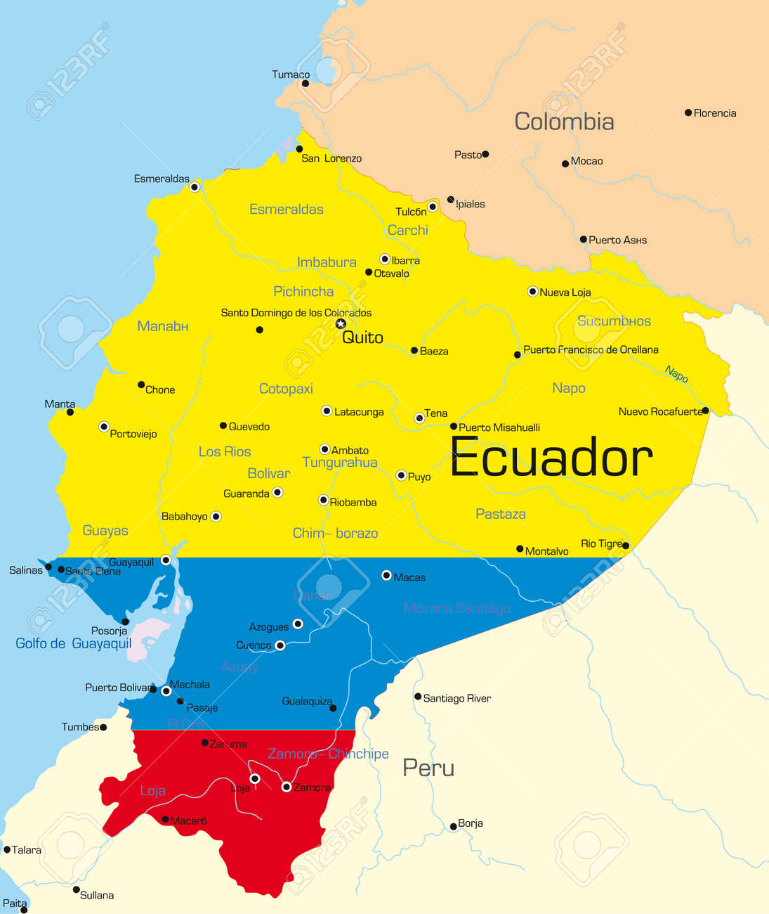 Abstract vector color map of Ecuador country colored by national..