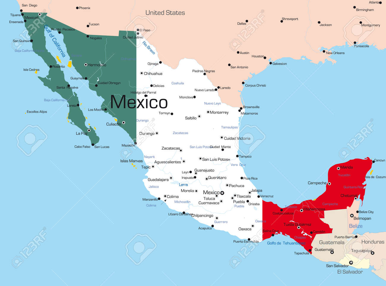 of Mexico country colored Mexico Country Vector