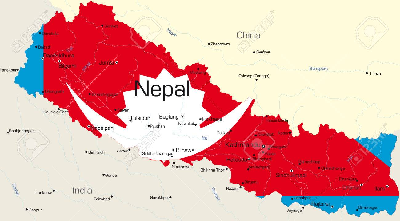 Vector map of Nepal country colored by national flag