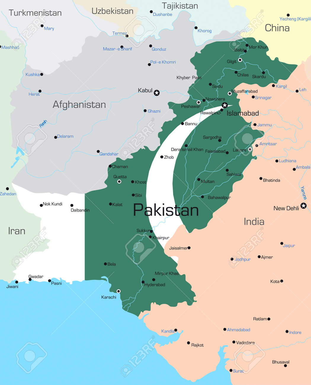 vector map of pakistan country colored by national flag royalty