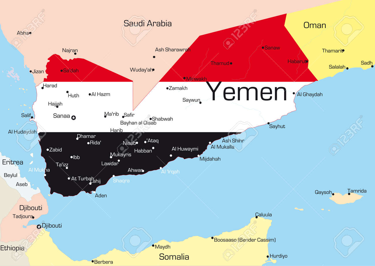 Abstract vector color map of yemen country colored by national abstract vector color map of yemen country colored by national flag stock vector 3686759 gumiabroncs Image collections