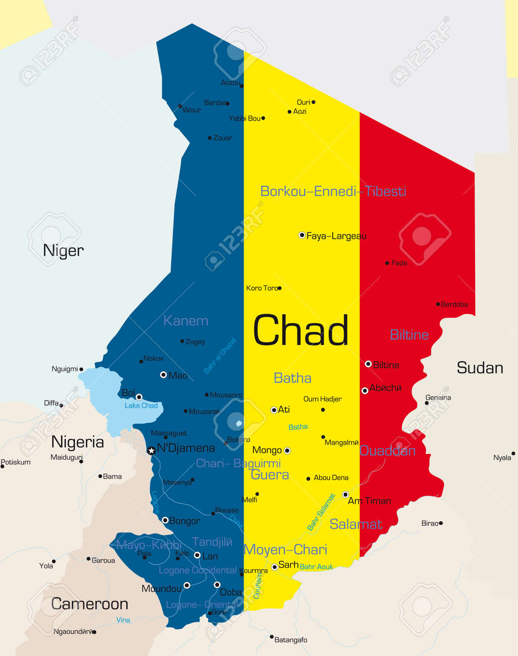 Abstract Vector Color Map Of Chad Country Colored By National ...