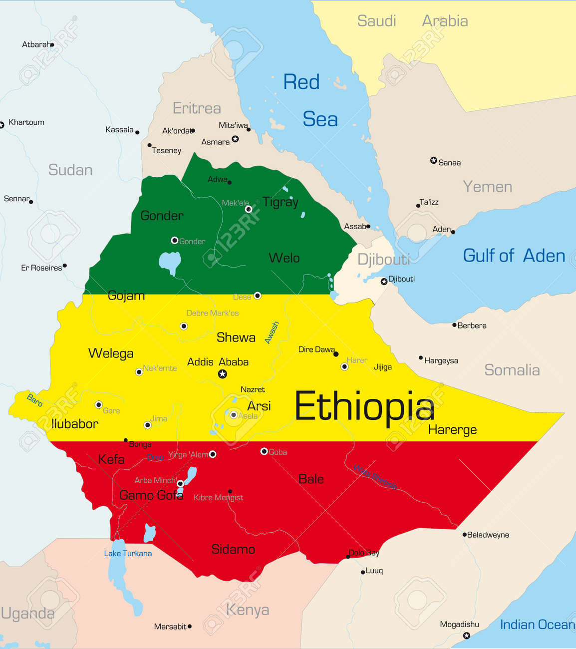 abstract vector color map of ethiopia country colored by national