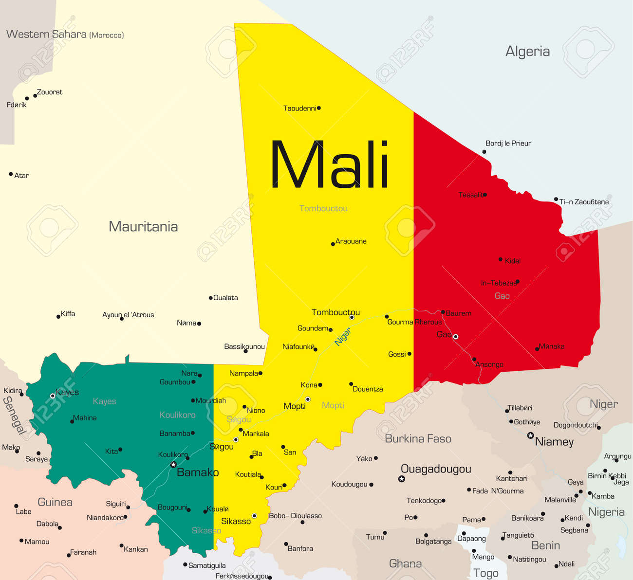 Abstract Vector Color Map Of Mali Country Colored By National ...