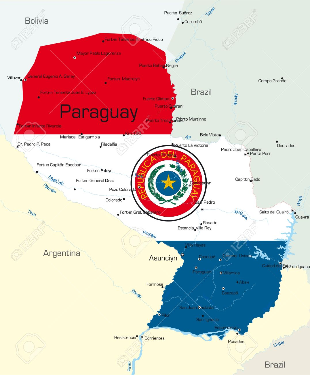 Abstract Vector Color Map Of Paraguay Country Colored By National - Map of paraguay world