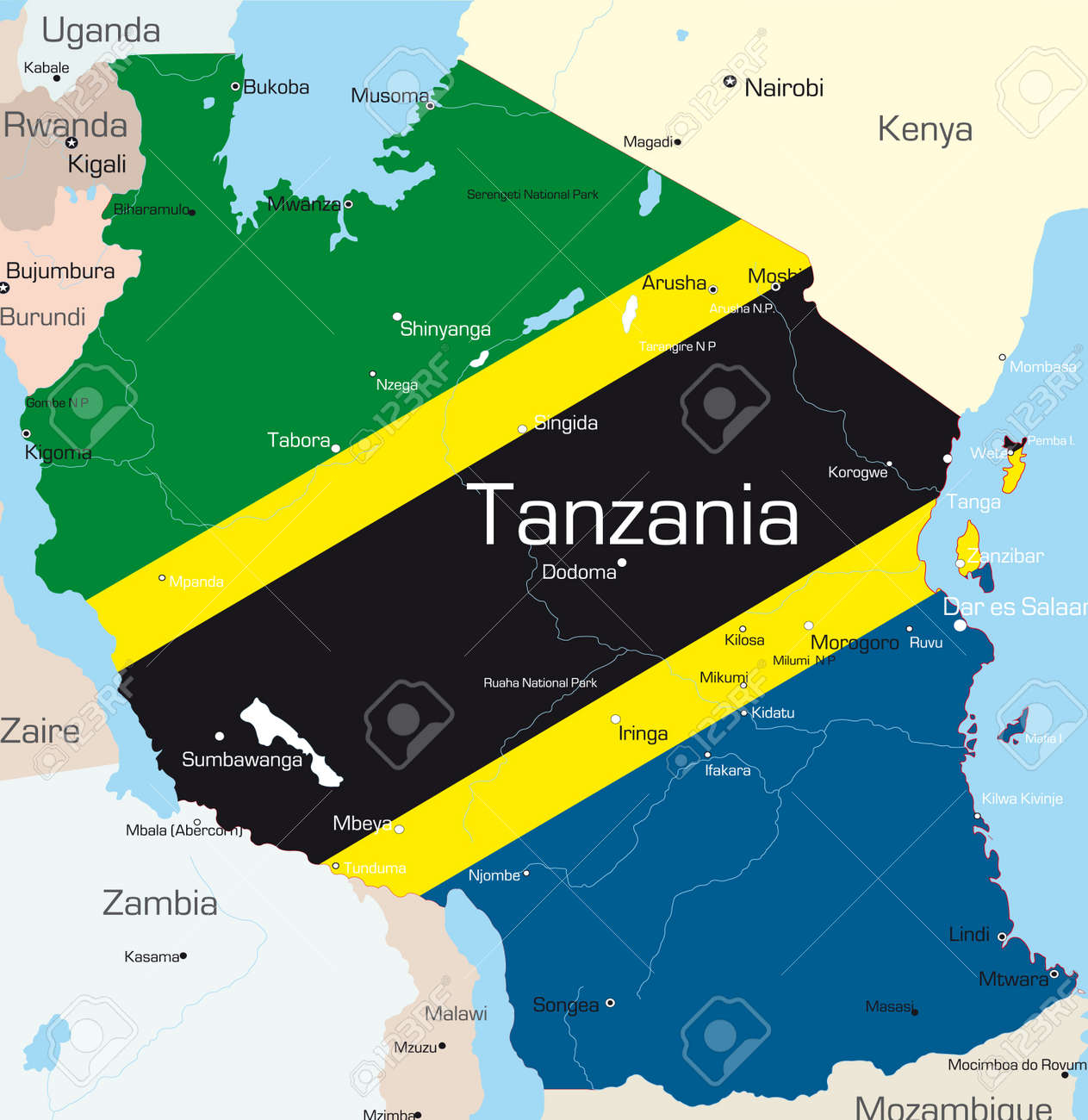 Abstract Vector Color Map Of Tanzania Country Colored By National - Map of tanzania
