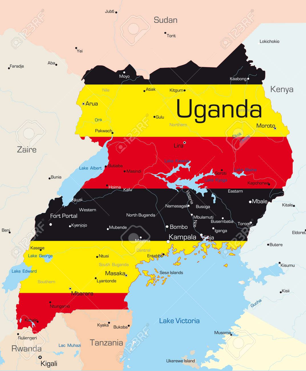Abstract Vector Color Map Of Uganda Country Colored By National - Map of uganda