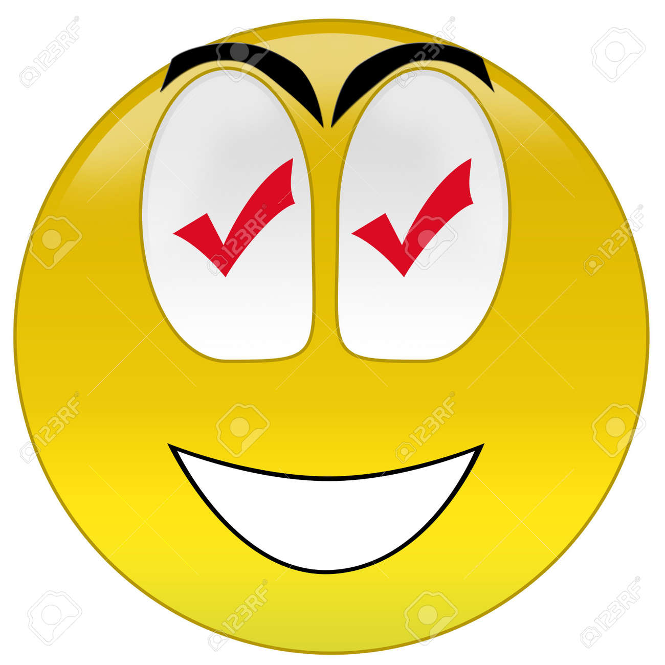 3d rendering happy smiley with checkmark signs at eyes Stock Photo - 3700904