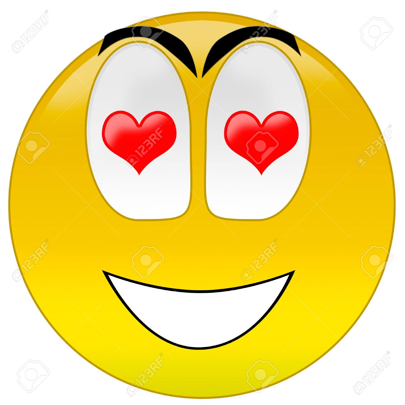 3d rendering happy smiley with love at eyes Stock Photo - 3700910