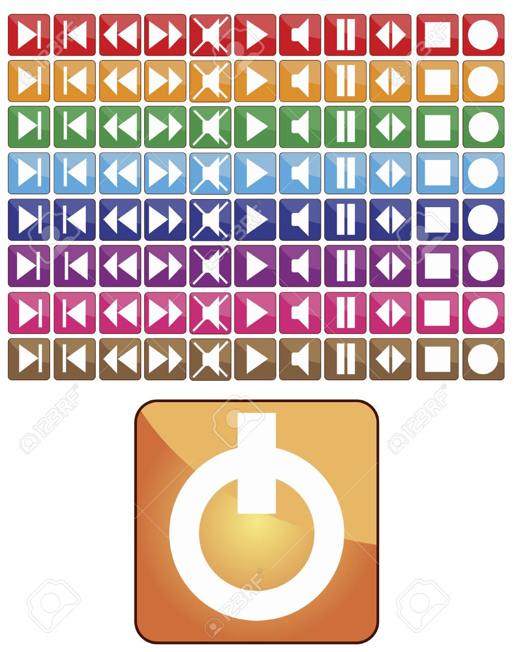 Abstract vector different color set media buttons Stock Vector - 4013088