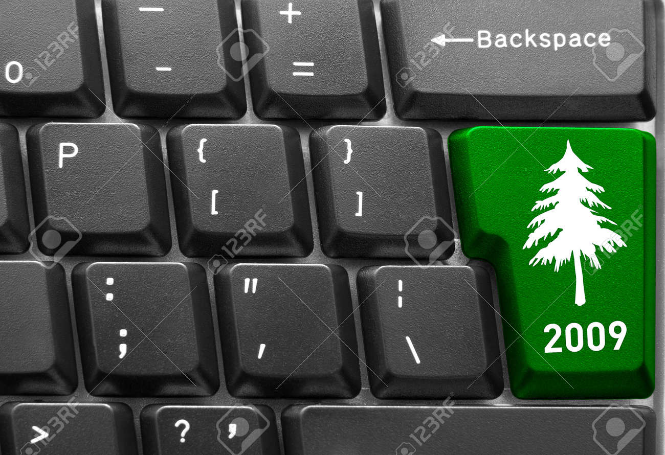 Close-up of computer keyboard with  green Christmas tree key Stock Photo - 4078260
