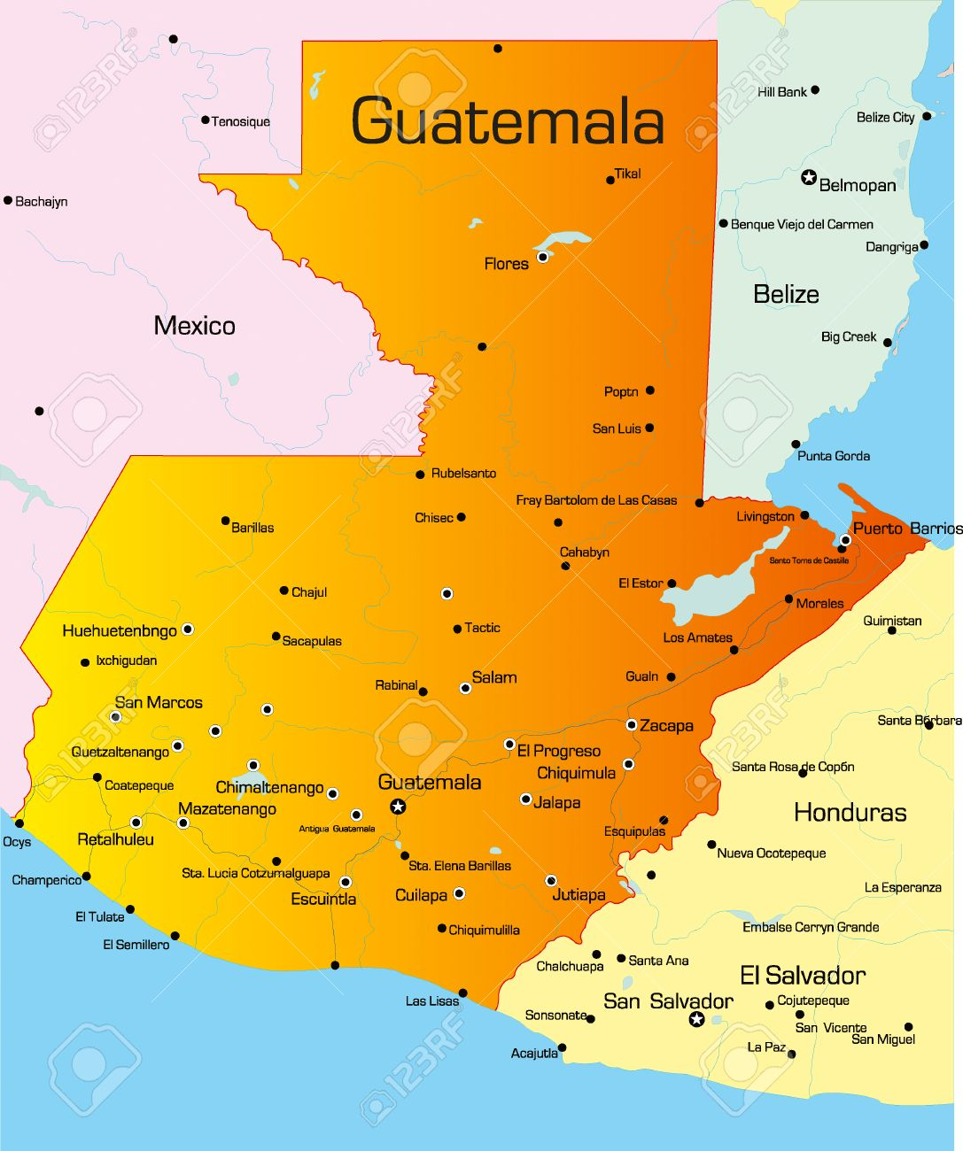Vector Color Map Of Guatemala Country Royalty Free Cliparts, Vectors ...