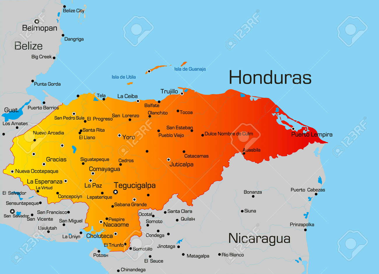 Vector Color Map Of Honduras Country Royalty Free Cliparts Vectors