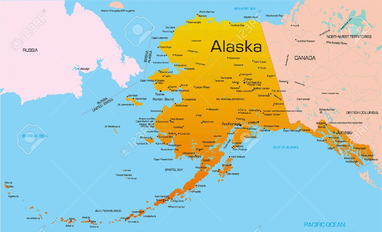 Vector Color Map Of Alaska State. Usa. Royalty Free Cliparts