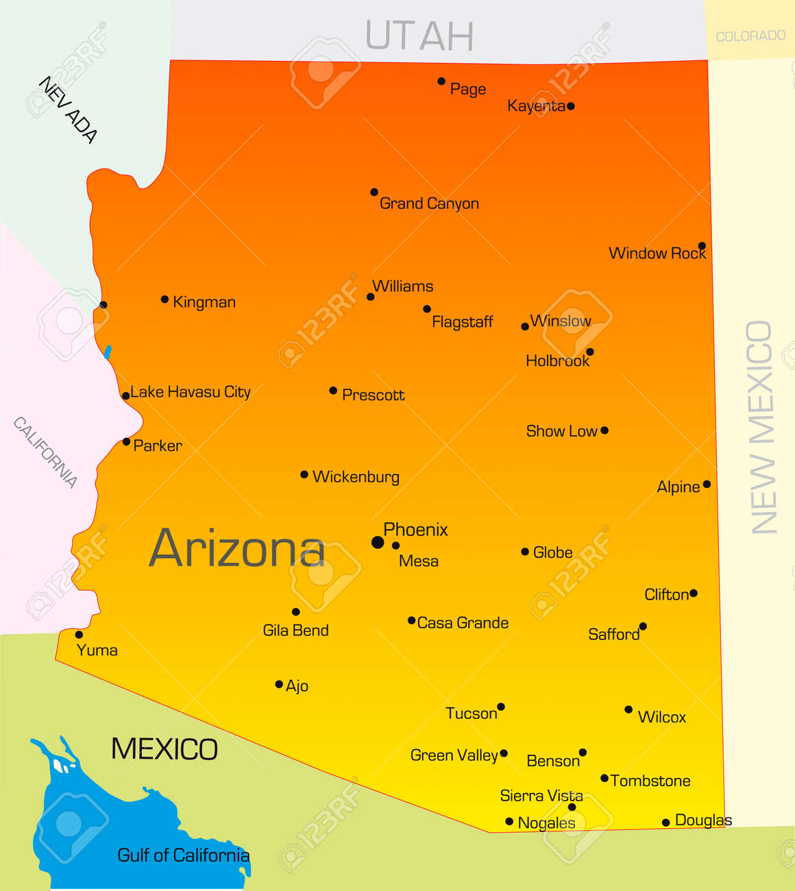 A Map Of Arizona State.Vector Color Map Of Arizona State Usa