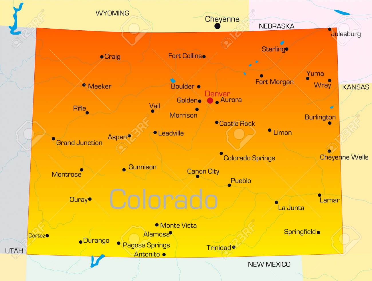 Vector Color Map Of Colorado State Usa Royalty Free Cliparts - Colorado state map
