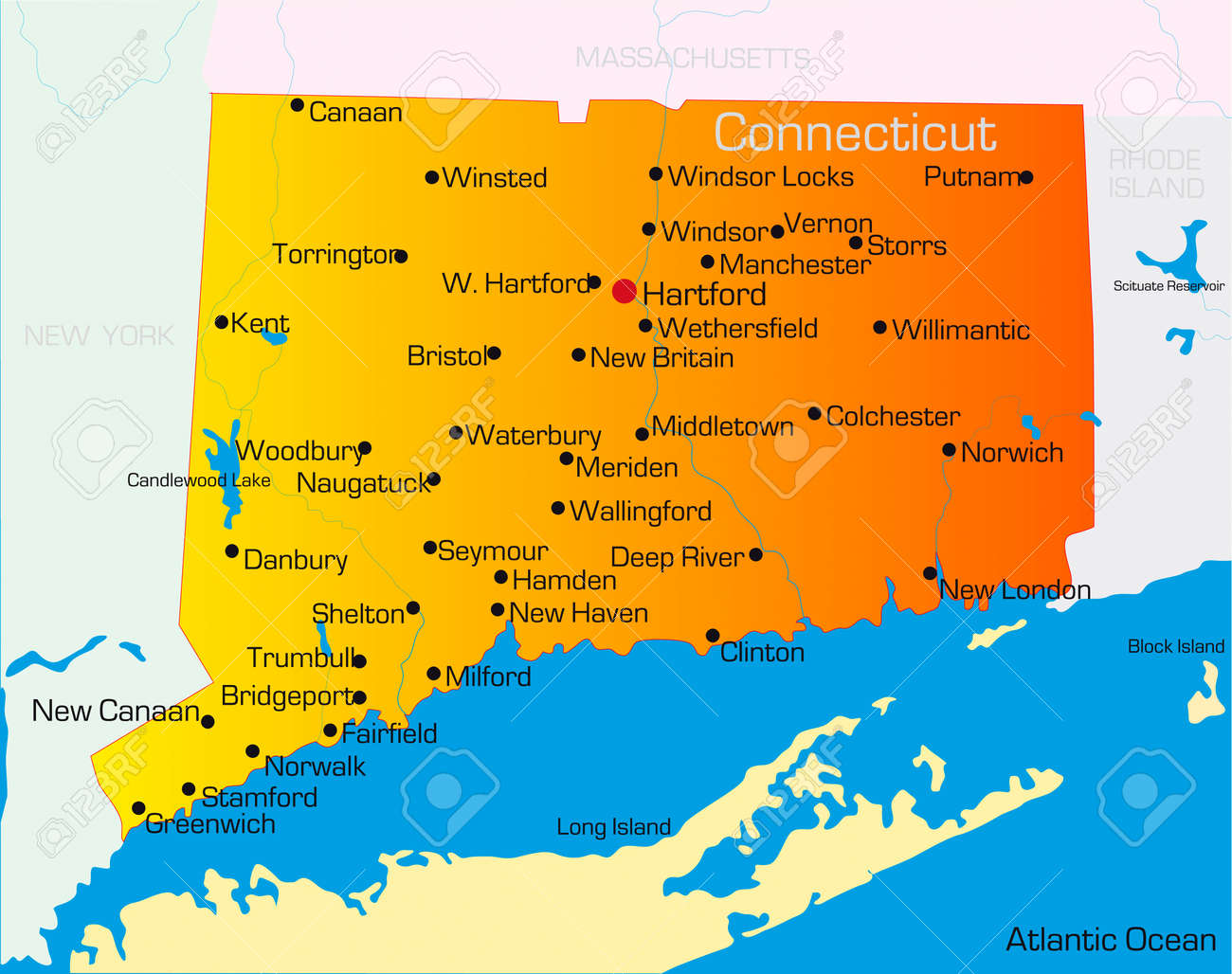 Vector Color Map Of Connecticut State Usa Royalty Free Cliparts - Map usa connecticut
