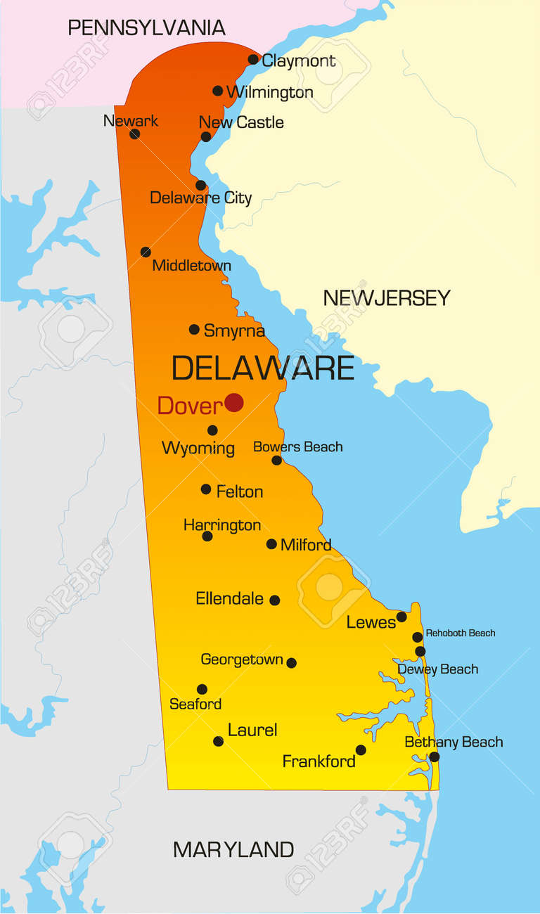 Vector Color Map Of Delaware State. Usa Royalty Free Cliparts