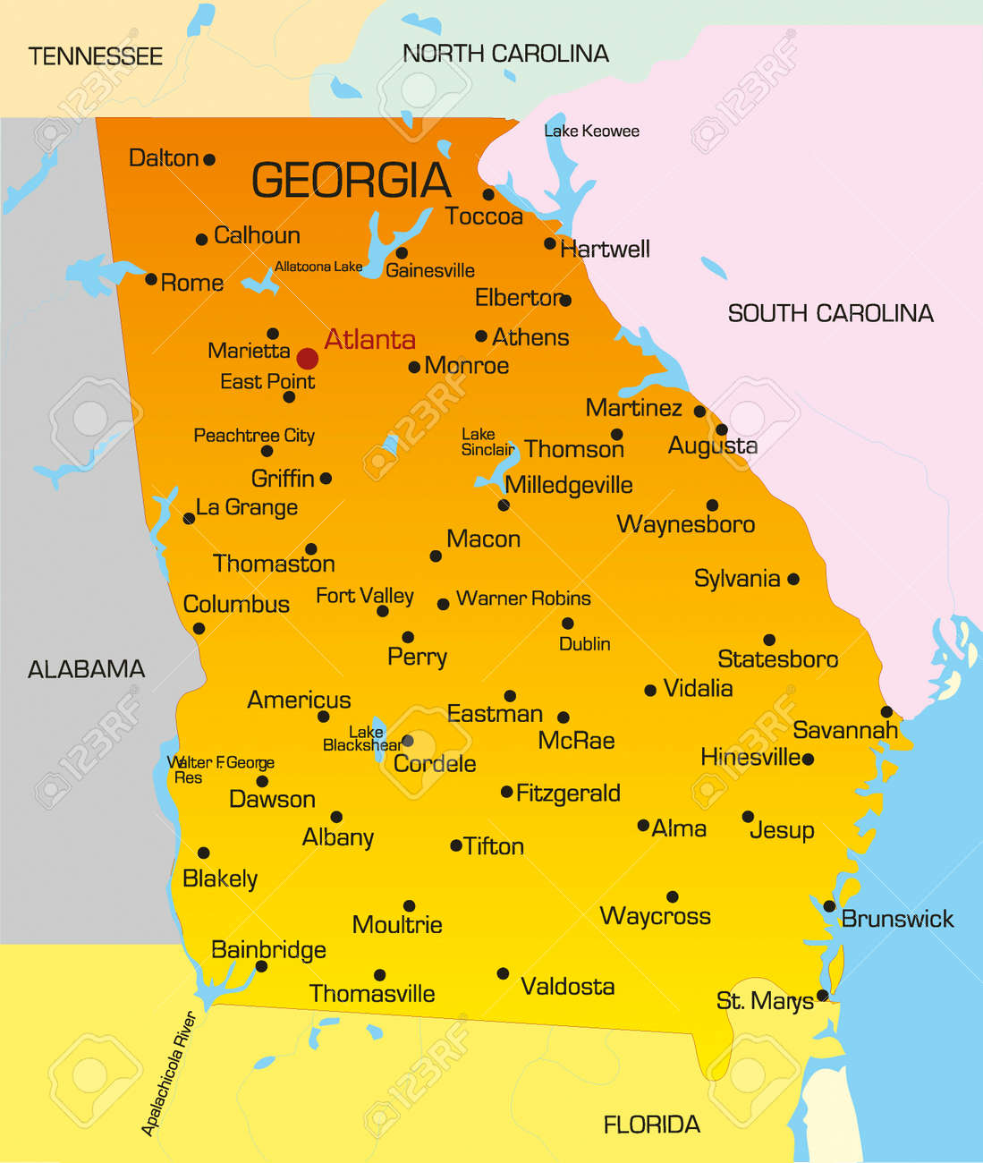 Map Of Georgia State.Vector Color Map Of Georgia State Usa