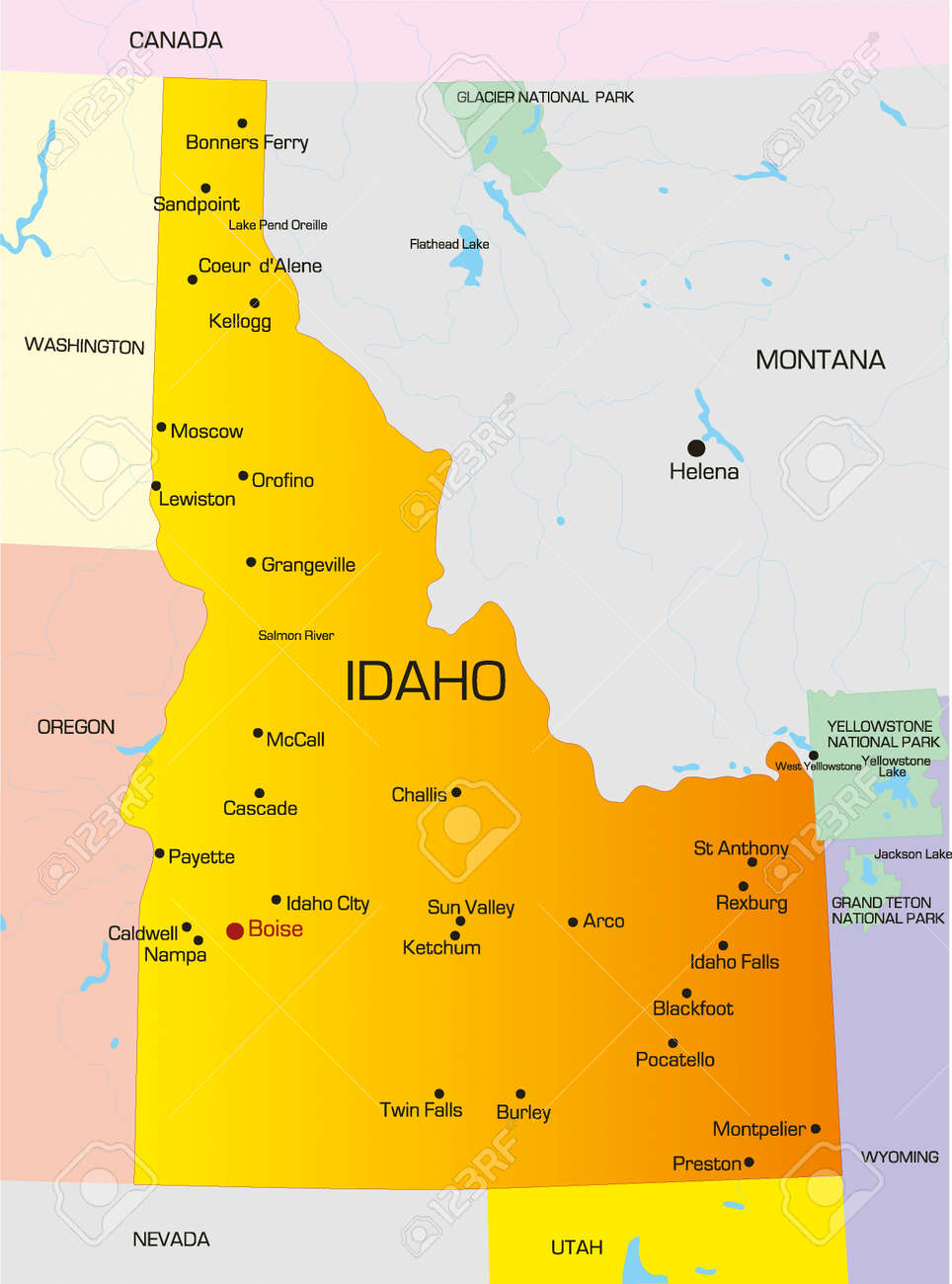 Vector Color Map Of Idaho State. Usa Royalty Free Cliparts, Vectors ...