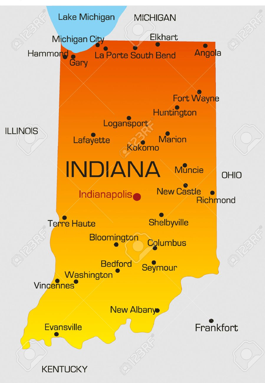 Vector Color Map Of Indiana State Usa Royalty Free Cliparts - Indianapolis indiana usa map