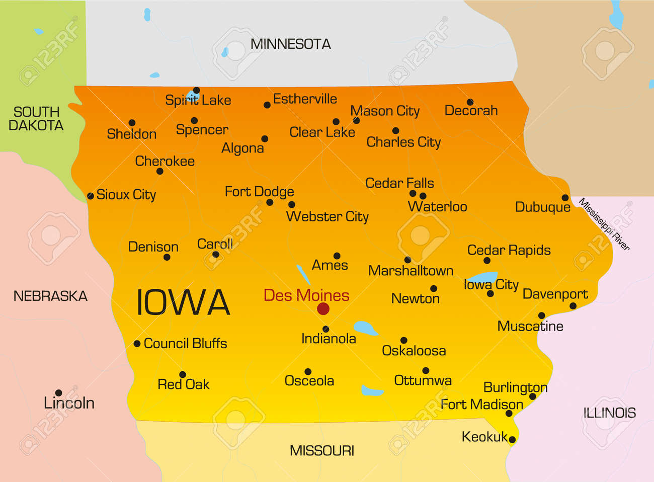 Vector Color Map Of Iowa State Usa Royalty Free Cliparts Vectors - Map of iowa