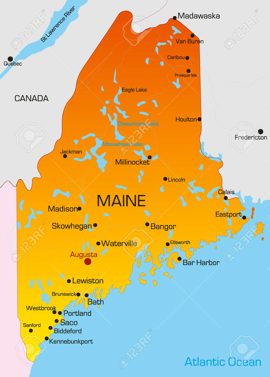 Vector Color Map Of Maine State Usa Royalty Free Cliparts - Maine usa map
