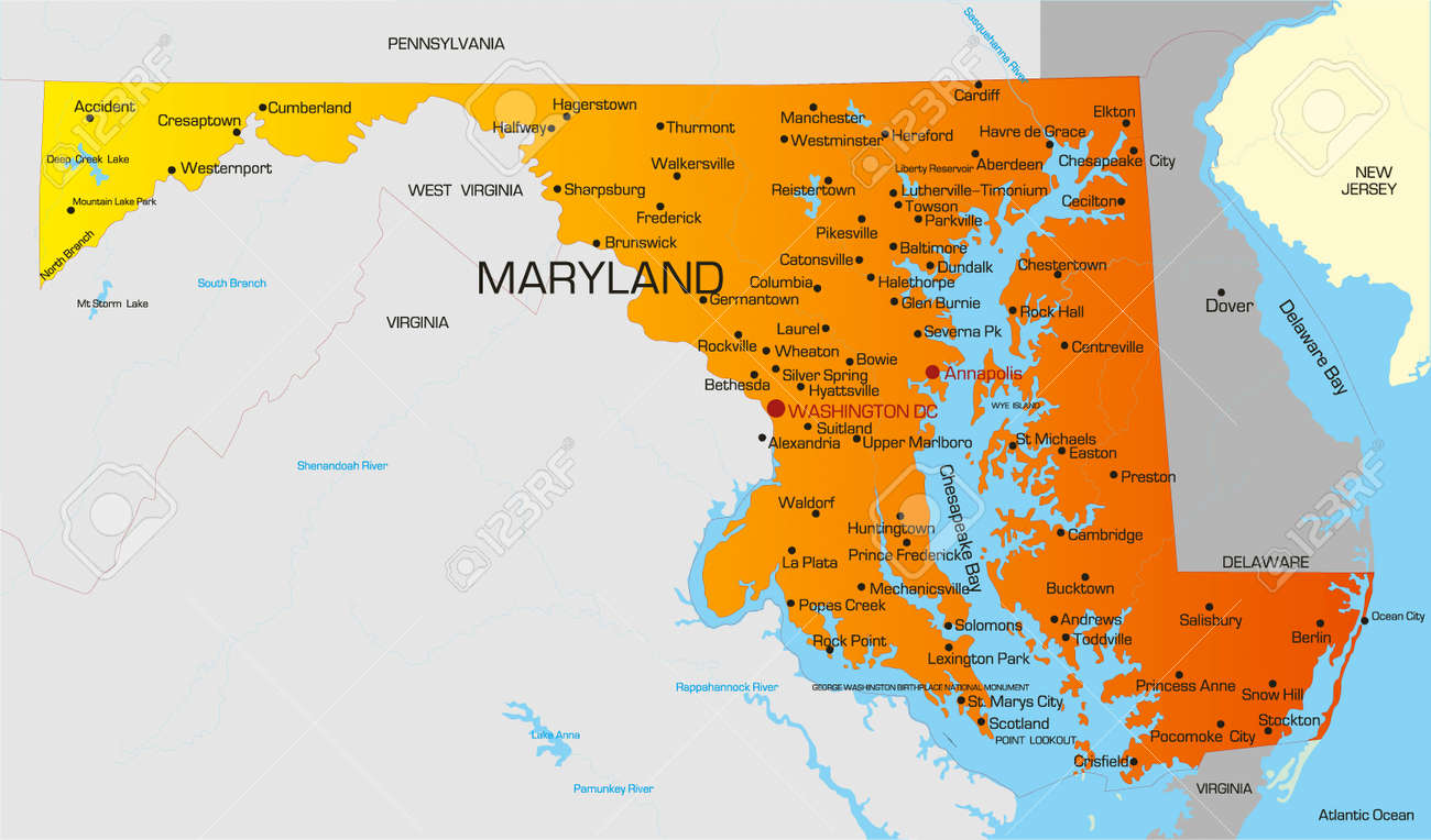 Vector Color Map Of Maryland State Usa Royalty Free Cliparts