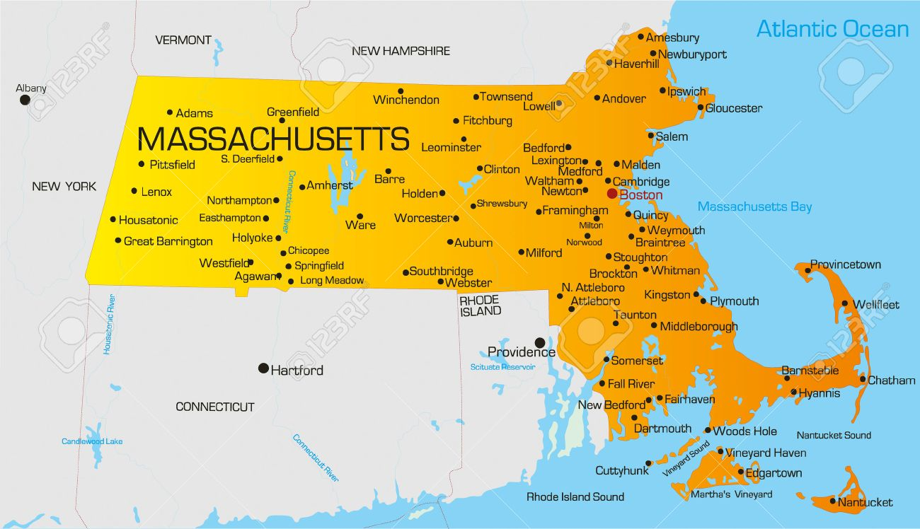 Vector Color Map Of Massachusetts State Usa Royalty Free Cliparts - Boston in usa map