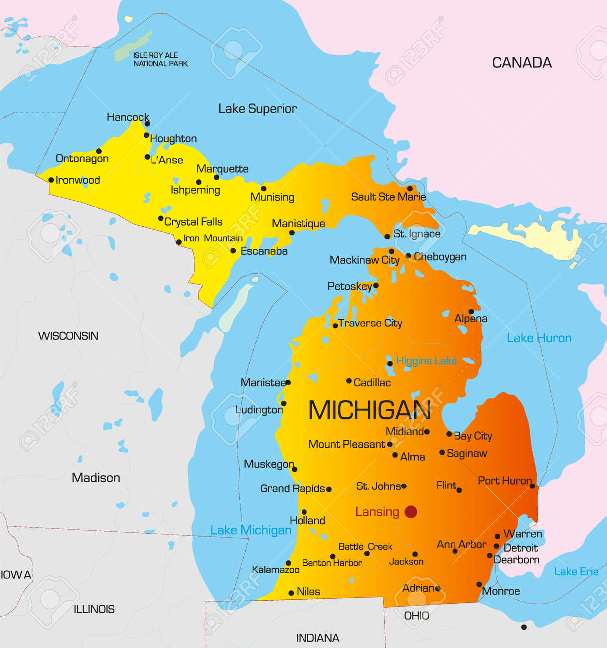 Vector Color Map Of Michigan State Usa Royalty Free Cliparts - State map of michigan