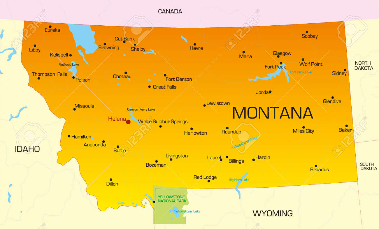 Vector color map of Montana state. Usa